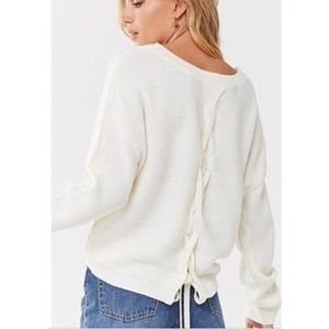 Sweaters - NWT Lace Up Waffle Knit Sweater